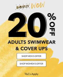 Weekly Wow at George at ASDA. 20% off Adults Swimwear and Cover Ups