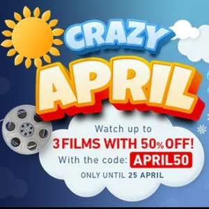 Crazy April: 50% off Up to 3 films to rent or buy with code @ Chili
