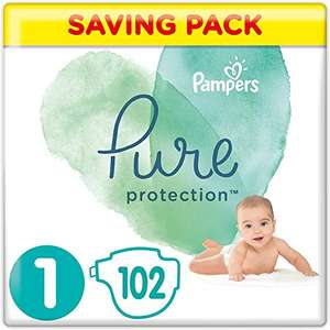 Pampers Size 1 Pure Protection Baby Nappies, 102 Count, MONTHLY SAVINGS PACK - £14.57 (+£4.49 Non Prime) @ Amazon