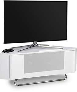 "Centurion Supports Hampshire Corner-Friendly Gloss White with White Beam 26""-50"" Flat Screen TV Cabinet Used Like New @ amazon warehouse"