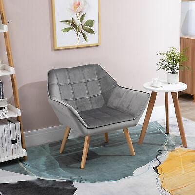 Luxe Velvet-Feel Accent Chair - Wide Apart Arms & Slanted Back - £86.39 Using Code @ eBay / mhstarukltd