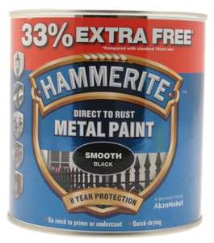Hammerite 5158235 Metal Paint, Smooth Black, 1L - £15.52 Prime (+£4.49 Non Prime) @ Amazon