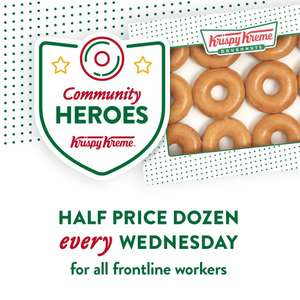 50% OFF Every Wednesday in April on Any Dozen Dougnuts For All Front Line Workers @ Krispy Kreme