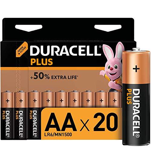 Duracell Plus AA Alkaline Batteries [Pack of 20], 1.5 V LR06 MX1500, black - £9.79 + £4.49 Non Prime @ Amazon