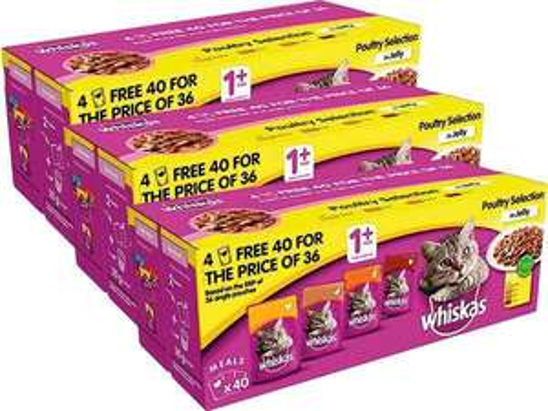 Whiskas poultry pouches 120 (3 x 40) £27 (£25 after voucher) Farmfoods