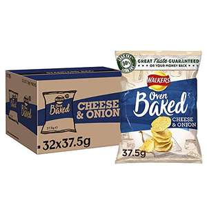 Walkers Oven Baked Cheese & Onion Crisps, 37.5 g (Box of 32 Bags) £13.08 Prime, + £4.49 Non-Prime @ Amazon