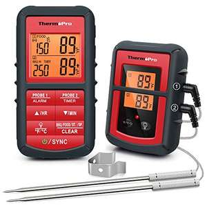ThermoPro TP08C Digital Wireless BBQ/Kitchen Thermometer, 2 Probes & Backlight Timer £42.49 & TP08 £33.99 @ Amazon Fulfilled By My iTronics