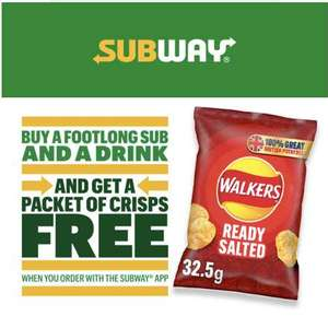 Free packet of crisps with Subway footlong purchase (app orders only) @ Subway