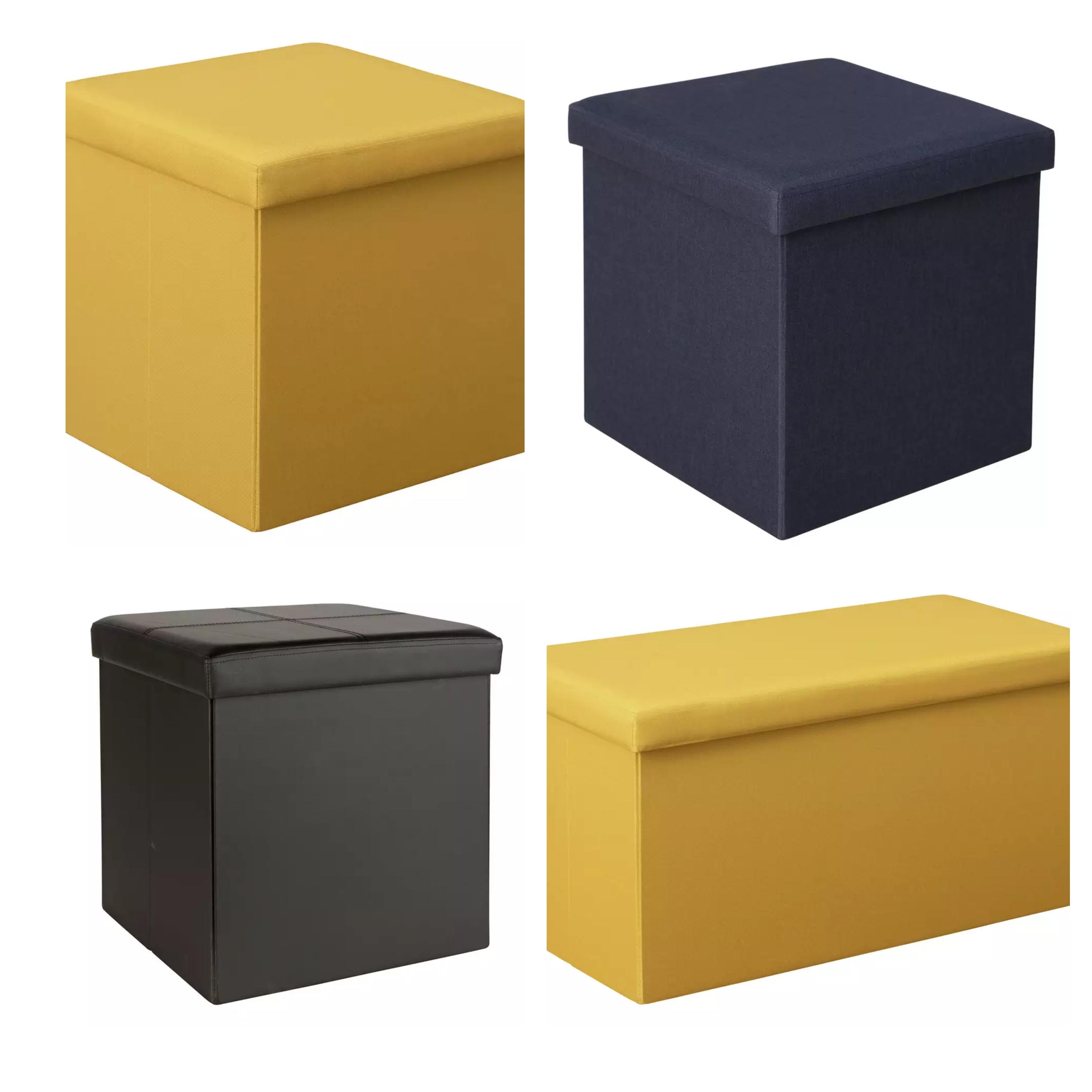 Argos Home Small Fabric Ottoman Mustard, Grey & Black £10 or Navy £12 / Medium Ottoman Mustard £14 or Navy £15 (Free Click&Collect) @ Argos