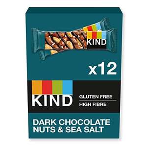 KIND Bars Dark Chocolate Nuts & Sea Salt Gluten Free Low Calorie (Pack of 12) - £7.74 Prime / +£4.49 non Prime @ Amazon Warehouse