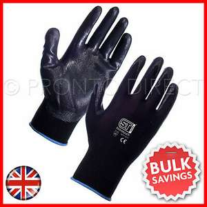 Nitrile Coated Work Gloves Palm Nylon Builders Safety Construction Nitrotouch - 99p delivered @ pronto.direct / eBay