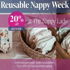 Reusable Nappy Week - up to 20% off site wide at The Nappy Lady - Delivery From £2.50