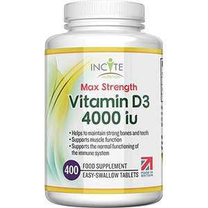 Vitamin D 4000iu 400 Vitamin D3 Easy-Swallow Micro Tablets £4.89 / £4.49 S&S + £4.49 (nonPrime) Sold by Incite Nutrition® & FB Amazon
