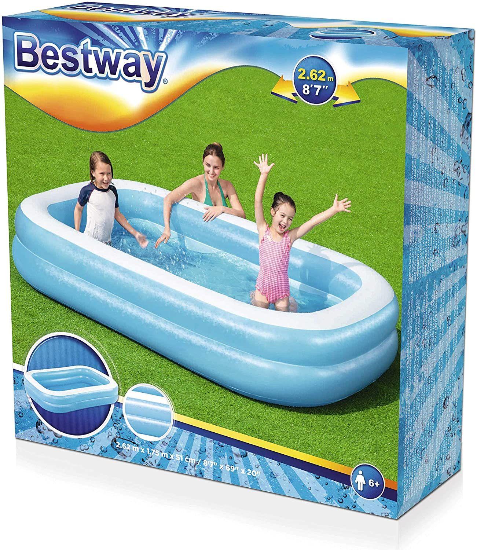 Bestway 8ft Family Rectangular Inflatable Paddling Pool - £16.43 Prime/£20.92 non-Prime (UK Mainland) Sold By Amazon EU @ Amazon
