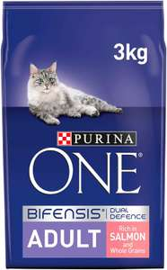 Purina One Adult Cat Food Salmon and WholeGrain, 3kg £10.99 / As low as £8.24 via Subscribe and Save (+£4.49 non prime) @ Amazon