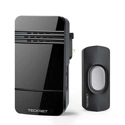 TECKNET Wireless Doorbell, IP44 Weatherproof Wall Plug-in, 150m, 32 Chimes,4-Level Volume & LED Light £7.99 (+£4.49 NP) - BLUETREE / FBA