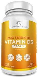 Vitamin D Max Strength 3000IU per Tablet 450 Tablets - £5 (+£4.49 Non-Prime) - Sold by Maxxi Retail / Fulfilled by Amazon