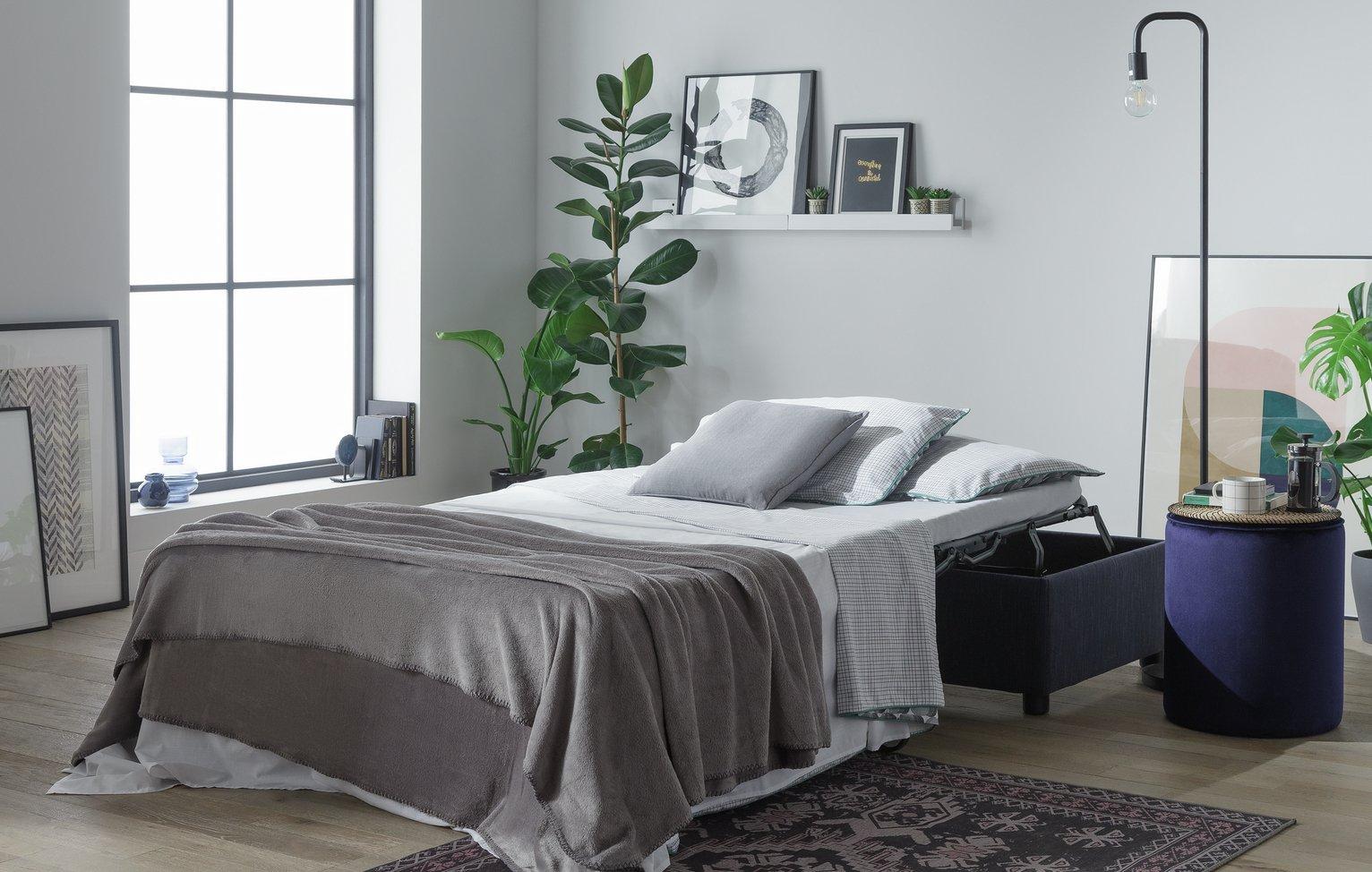 Argos Home Nate Fabric Ottoman Sofa Bed - Navy + 2 year guarantee £161.95 delivered @ Argos