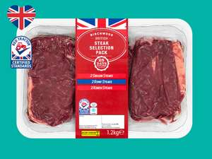 Birchwood British Beef Steak Selection Pack 1.2kg £12.99 @ Lidl From 29th April