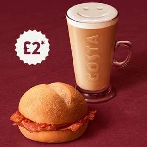 Costa Coffee - Breakfast Bap for £2 when you buy any Medium or Large Drink (before 11am) - Selected UK stores.