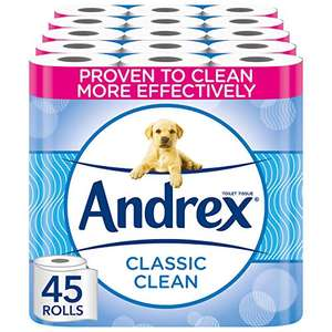 Andrex Toilet Roll - Classic Clean Toilet Paper, 45 Toilet Rolls £16.25 prime / £20.74 nonPrime / £14.63 subscribe & save at Amazon