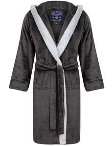 Buckingham soft fleece dressing gown with hood in dark grey & light grey for £15.99 delivered using code @ Tokyo Laundry