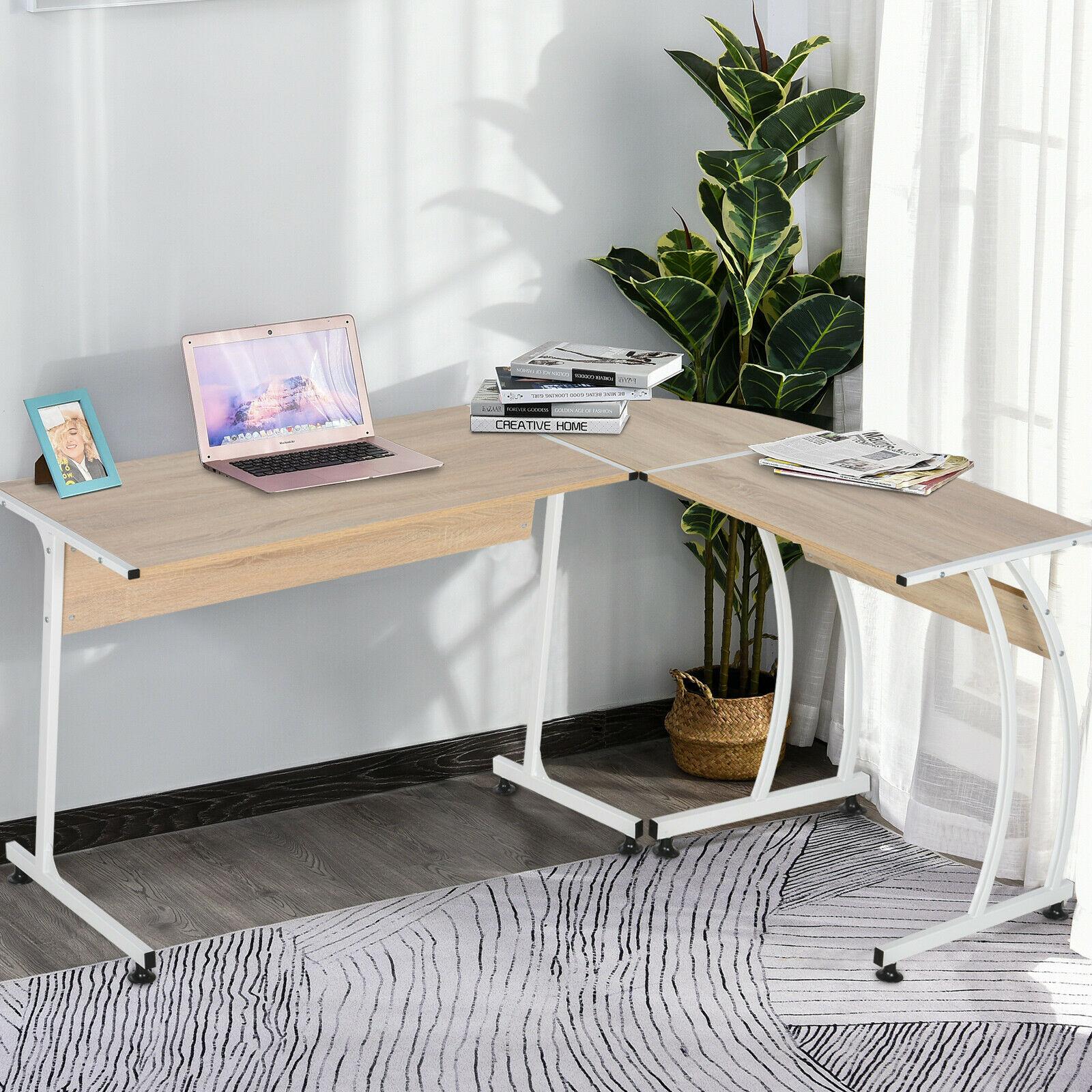 L Shaped Steel Framed Corner Desk - White / Natural - £53.99 at Checkout + Free Delivery @ eBay / 2011homcom