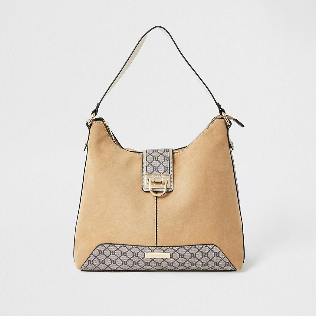 River Island Womens Beige Lock Front Slouch Handbag - £17 delivered @ River Island / eBay Outlet