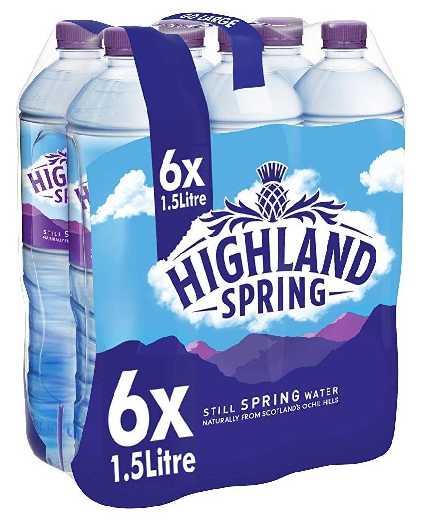 Highland Spring Still Spring Water, 6 x 1.5L - £2.80 (+£4.49 Non-Prime) @ Amazon