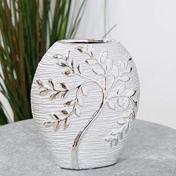 HESTIA? Silver Electroplated Tree Ceramic Oval Vase - 20cm £11.94 delivered @ Roov