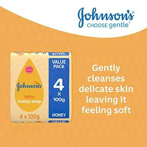 JOHNSON'S Baby Honey Soap 100g 4 pack – Ideal for Delicate Skin £1.25 or 6x4 £5.98 (£+ £4.49 NP) @ Amazon