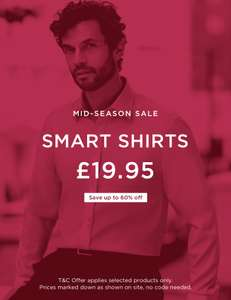 64% off Men's casual shirts, 56% off Men's smart shirts - From £19.95 + £4.95 delivery @ Hawes & Curtis