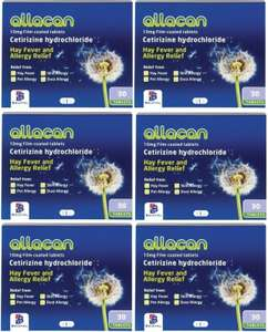 6 Months Supply Allacan Cetirizine Hayfever Allergy Tablets 30 x 6 £3.24 @ Amazon sold by Pharmacy Prime