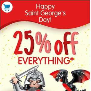 25% off virtually everything at Playmobile - from £1.49 discount Applied at checkout - £3.50 delivery/ free over £30