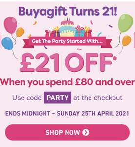 £21 off an £80 spend with code on buyagift