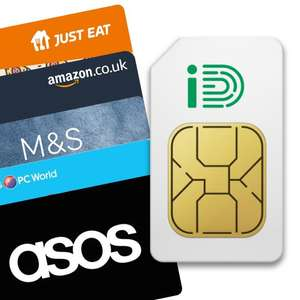 iD Mobile 5G Ready Sim - Unlimited Minutes and Texts, 30GB of Data £10pm (with £20 e-gift card / 12 month) £120 @ iD Mobile via Giftcloud