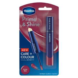 Vaseline Prime and Shine 2-in-1 Lip Balm and Gloss in Plum Red 99p @ Home Bargains, Whitchurch, Shropshire