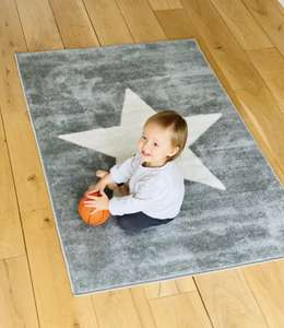Nursery Rug 100 x 150cm Latex Backing For Kids Bedroom, Children's Play Mat or Baby Carpet Grey Chevrons - £9.99 @ Thegiftandgadgetstore