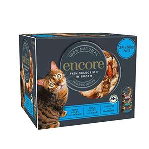 Encore 100% Wet Cat Food, Fish Selection Pot, 4x 6 x 60g (Total 24 Pots) - £9.98 (+£4.49 Non-Prime / £8.48 with subscribe and save) @ Amazon