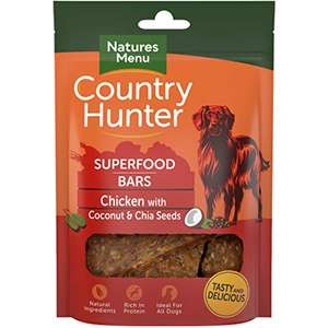 Country Hunter Natures Menu Superfood Bars Chicken with Coconut & Chia Seeds (7 x 100g) £2.49 + £4.49 NP In stock on May 7, 2021. @ Amazon