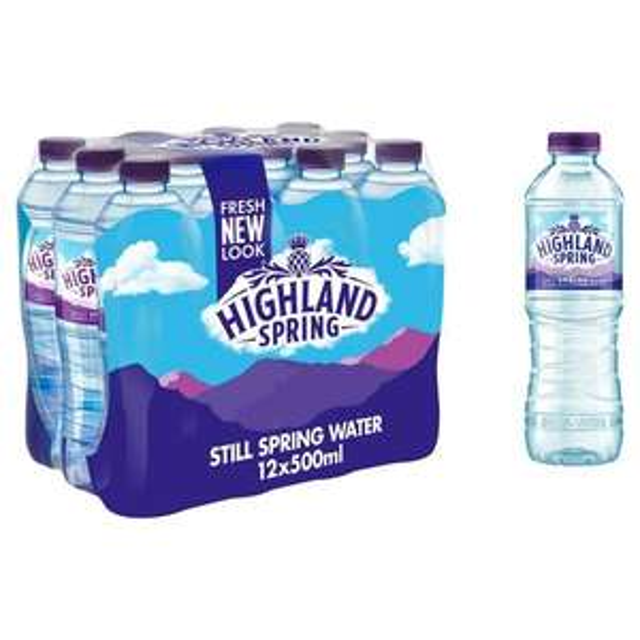 Highland Spring Still Spring Water Bottles Family Pack 12x500ml £2 at Asda