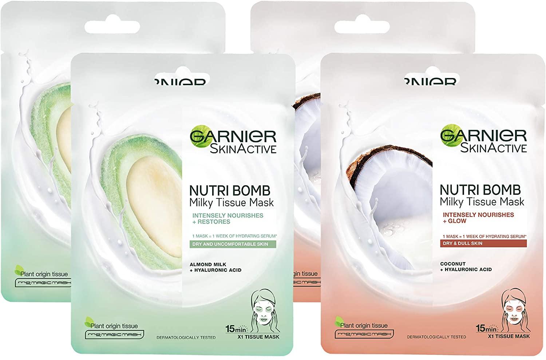 Garnier Nutri Bomb Milky Face Sheet Masks Pack of 4 - £7.80 Prime / +£4.49 non Prime @ Amazon