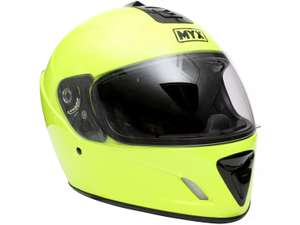 MYX Full Face Motorcycle Helmet - Fluro Yellow - £10 + free Click and Collect @ Halfords