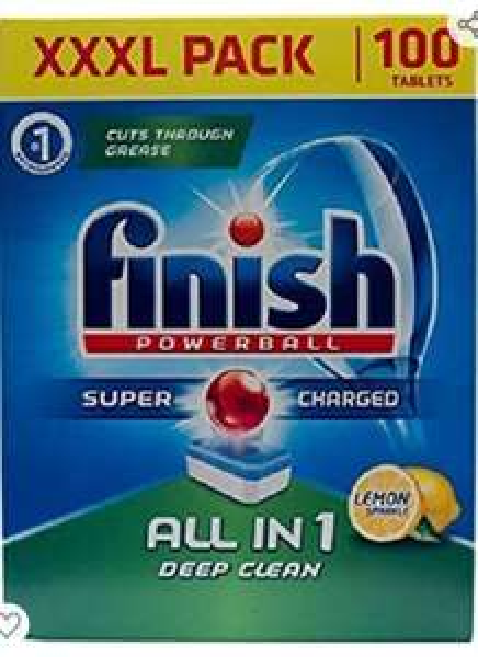 Finish Dishwasher Tablets All In 1 Powerball XXXL Lemon, 100 Tablets (9p per tab) - £9 Prime / £13.49 non Prime @ Amazon