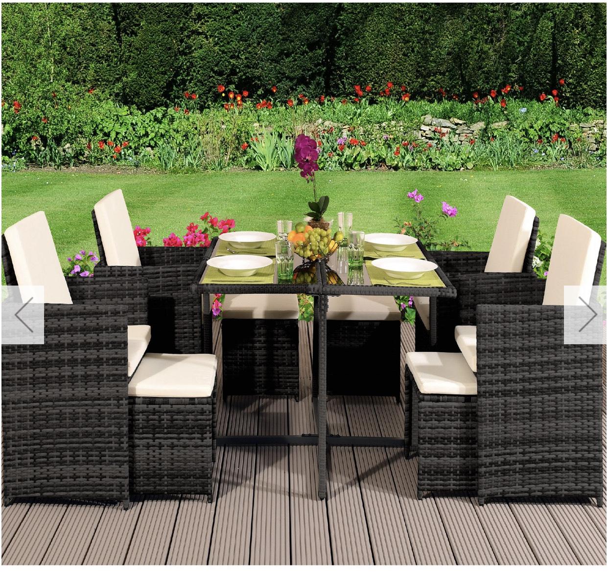 9 Piece Cube Rattan Garden Furniture Set - Various Colours £549.99 at The Range