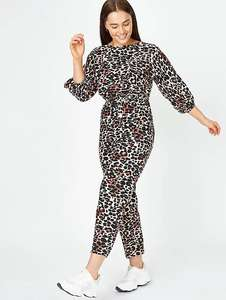 Leopard Print Belted Crop Leg Jumpsuit £10 at Asda George - free Click & Collect / £2.95 delivery