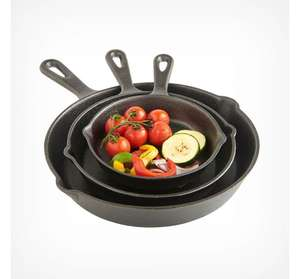 Vonhaus 3 Piece Cast Iron Skillet Set - £24.99 delivered (UK Mainland only) @ VonHaus