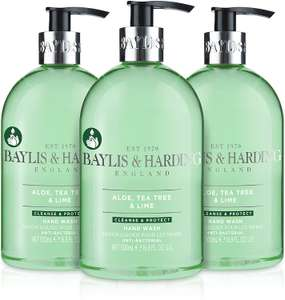 Baylis & Harding Aloe, Tea Tree and Lime Anti Bacterial Hand Wash, 500 ml, Pack of 3 - £3.63 prime / +£4.49 non Prime @ Amazon