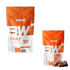 Pure Omega 3 Fish Oil 1,000 Softgels - £15.99 / Carb Cutter Bits £6.99 Per Bag or 2 Bags £8.98 Delivered withCode @ Bodybuilding Warehouse