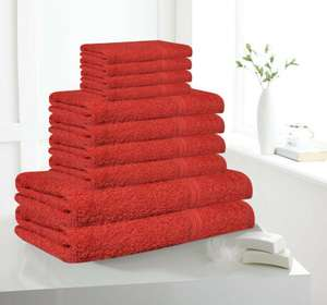 10 Piece Egyptian Cotton Bath Towel Set - Red £9.99 delivered @ premiumclothing1 / ebay